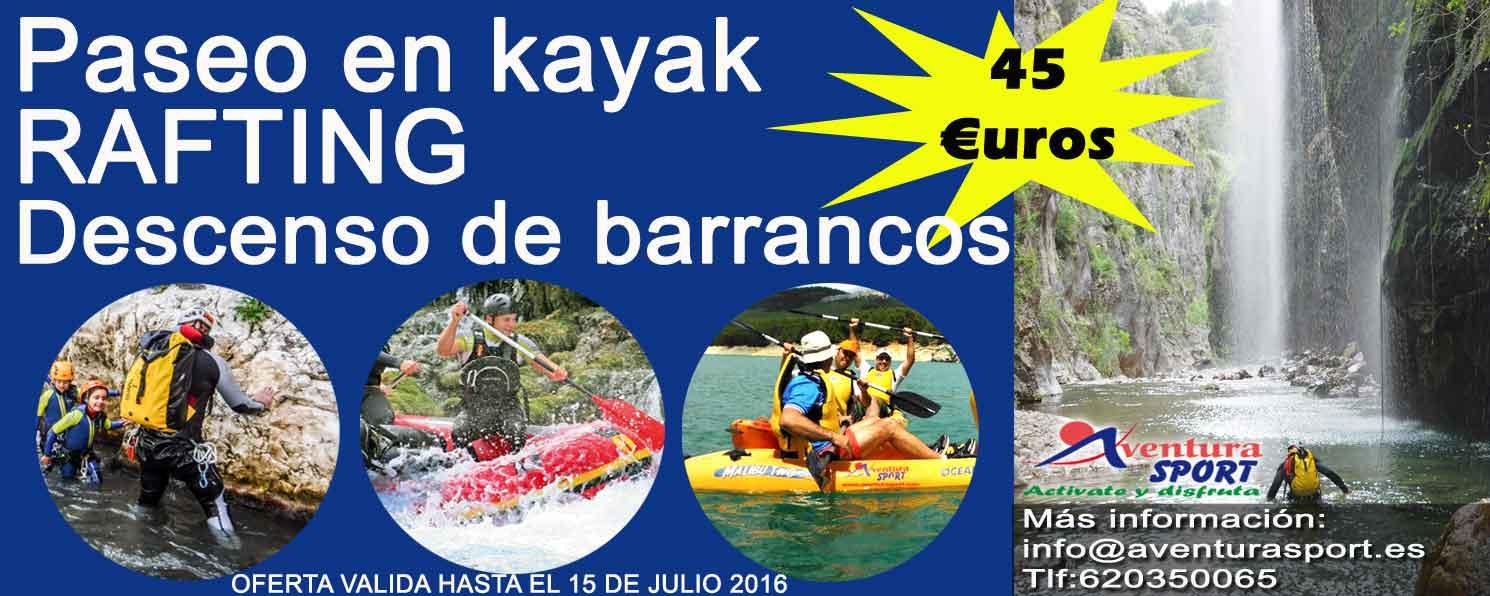 Oferta de actividades de aventura acuáticas en sierra de cazorla