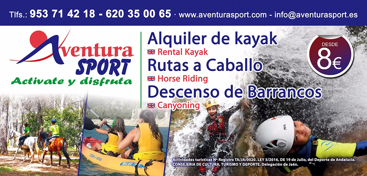 Actividades de aventura en Sierra de Cazorla. alquiler de Kayak, rutas a caballo y descenso de barrancos