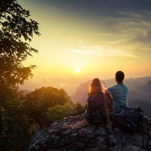 Disfruta naturaleza Puesta de sol en pareja