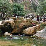 Aventura en Sierra de cazorla con toboganes naturales en el descenso de barrancos