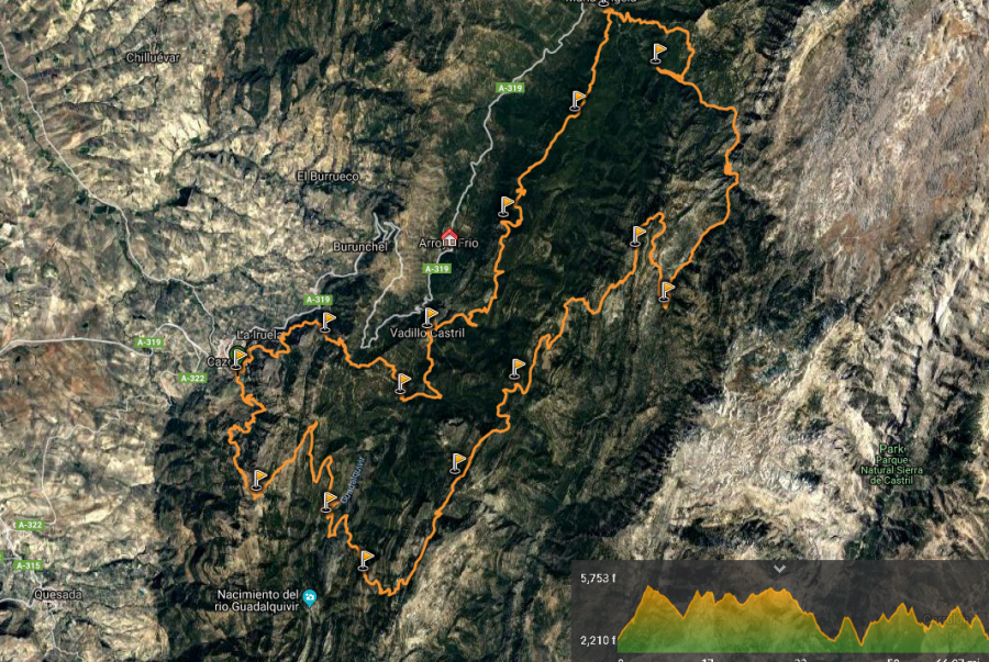 Recorrido Ultra Trail Bosques del Sur en Sierras de Cazorla