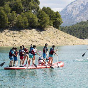 actividades de aventura para escolares, paddle surf en sierra de cazorla